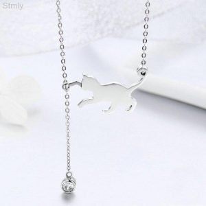 Sterling Silver Cat Necklace Pendant For Women 3