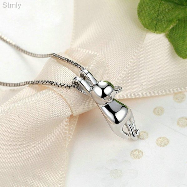 Sterling Silver Hanging Cat Pendant Necklace