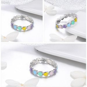 Sterling Silver Rainbow Heart Ring for Women