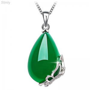 Sterling Silver Emerald Pendant Necklace For Women