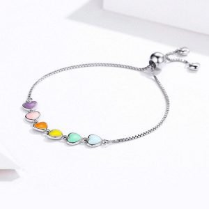 Sterling Silver Hearts Bracelet Rainbow for Women