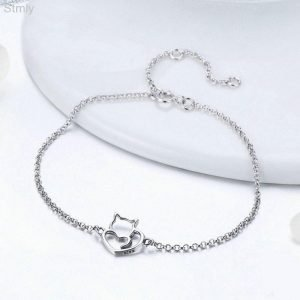 I Love My Cat Sterling Silver Bracelet Women