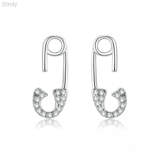 Sterling Silver Safety Pin Earrings CZ for Women