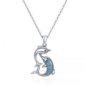 Dolphins Pendant Sterling Silver Necklace for Women
