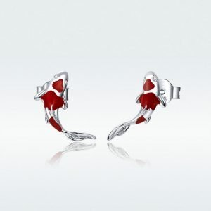 Sterling Silver Fish Earrings for Women