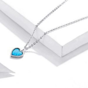 Blue Heart Necklace Sterling Silver for Women