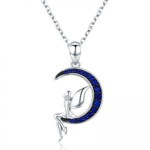 Sterling Silver Pixie Necklace Blue Moon for Women